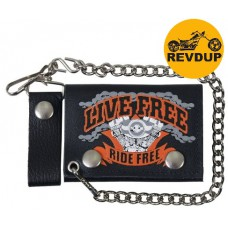 Carteira Couro Corrente Hot Leathers Live Free Ride Free